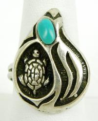 Vintage Sterling Turquoise Turtle Ring,, 9.5