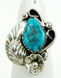 Vintage Navajo Sterling Turquoise Pinkie Ring, Size 3.75