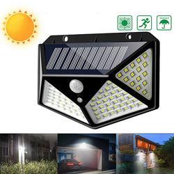 100 LED Solar Powered PIR Motion Sensor Wall Light