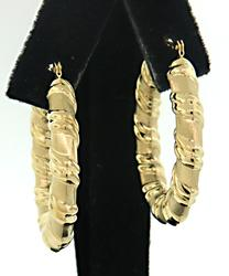 Trendy Twisted Yellow Gold Hoop Earrings