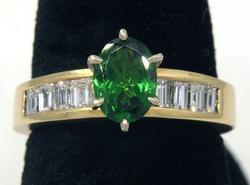 Flashy Tsavorite & Diamond Baguette Ring