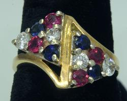 Almost Half Carat Each Diamond, Ruby, & Sapphire Ring