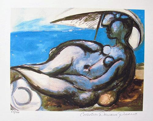 Pablo Picasso, Reclining Nude At Beach