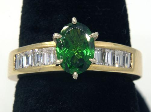 Flashy Tsavorite & Diamond Baguette Ring