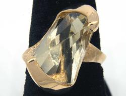 Uniquely-Cut Citrine Ring in Gold