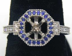 Diamond & Sapphire Engraved Ring Mount