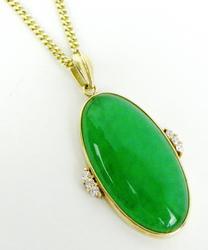 Finest 14K Imperial Jadeite & Diamonds Necklace w/Box