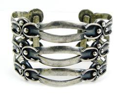 Early Maricela Sterling Tasco Wide Cuff Bracelet
