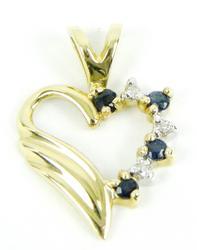 14K Diamonds & Sapphires Heart Pendant