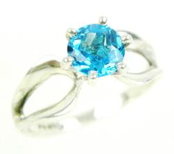 Vintage Sterling Ring with Blue Topaz, Size 9.25
