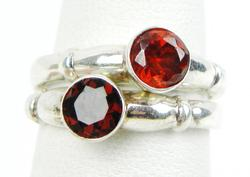 2 Sterling Stacking Rings with Red Stones, Size 8