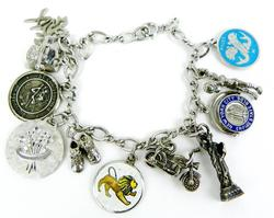Vintage Sterling Charm Bracelet with 11 Great Charms