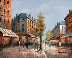 Paris Street Scene, Original Oil Painting by H. Rogers