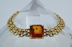 Vintage Designer Gold Plated Bracelet w/Natural Amber