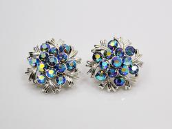 Vintage Silver Tone Clip on Earrings With AB Crystals