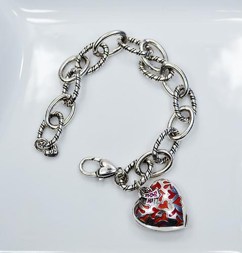 2009 Brighton Silver Plated Heart Locket Chain Bracelet