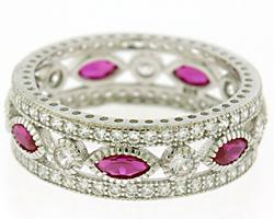 CZ and Ruby Marquise Sterling Silver Ring