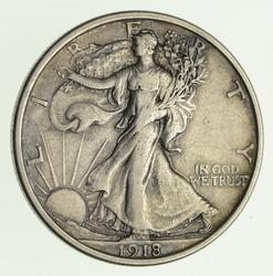 1918-D Walking Liberty Silver Half Dollar - Circulated