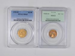 (2) MS63 1925-D $2.50 Indian Head Gold Quarter Eagles - Graded PCGS