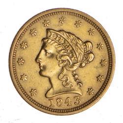 1843 $2.50 Liberty Head Gold Quarter Eagle