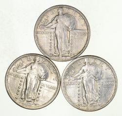 Lot (3) 1917 1917-S & 1917-D Standing Liberty Quarters - Uncirculated