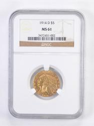 MS61 1914-D $5.00 Indian Head Gold Half Eagle - Graded NGC