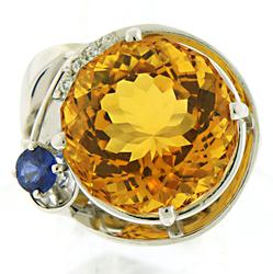 Huge Citrine Sapphire and Diamond Ring