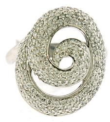 Modern Pave Diamond Swirl Ring