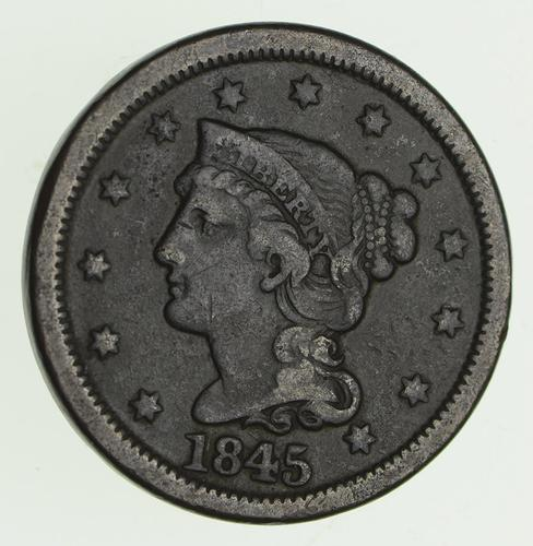1845 Braided Hair Large Cent - Circulated