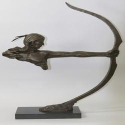 Archer Indian Warrior Bronze Sculpture