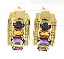 Awesome Multi Gemstone & Channel Set Diamond Earrings