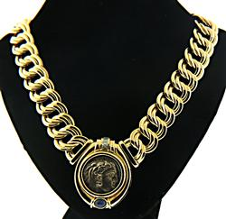 Absolutely Gorgeous Oval Link Replica Coin Necklace