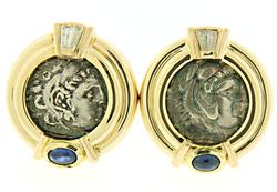 Pretty Cab Sapphire and Baguette Diamonds Replica Coin Earrings