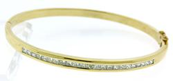 Divine 18kt Princess Cut Channel Set Bangle