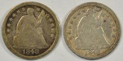 1848 Small Date & Large Date Liberty Seated Half Dimes