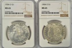 2 Blazing-white Gem BU 1904-O Morgan Dollars. NGC MS65