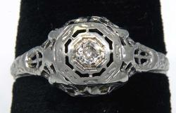 Delicate Art Deco Filigree Diamond Ring