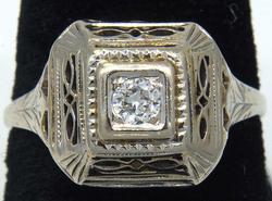 Eye-catching Diamond & White Gold Filigree Ring