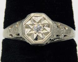 Art Deco Filigree Diamond Star motif Ring