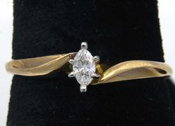 Simple Marquise Diamond Promise Ring