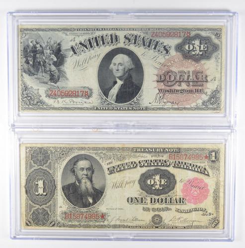 Lot (2) 1880 $1 Legal Tender & 1891 Treasury Large Size Notes