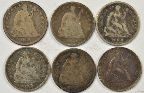 6 Diff. Civil War era Liberty Seated Half Dimes