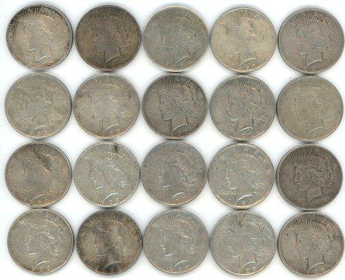 Roll of 20 assorted Peace Silver Dollars from 1920's