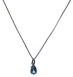 Blue Topaz and CZ Necklace in 925