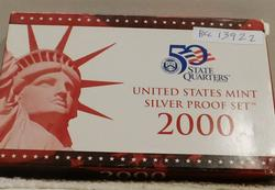 2000 Silver PROOF Set, w/ Mint Box, w/Sil State Qtrs.