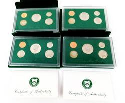 4 US Mint Proof Coin Sets w/COA's
