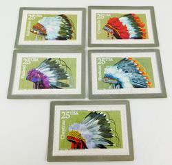 1990 Stamp Puzzle Postcards - Indian Headdresses