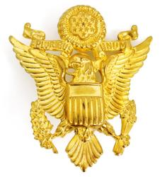 Vintage Brass Eagle Military Hat Badge