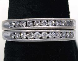 Diamond & Sterling Silver Pair of Half-Bands