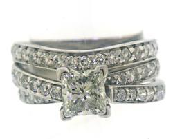 Charming .85ctw Princess Cut Diamond Bridal Set